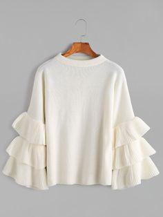 White Layered Ruffle Sleeve Pullover Sweater