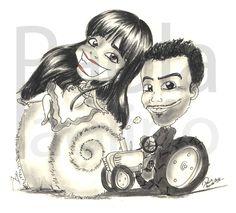 Caricatura di sposi su trattore e balla di fieno. La caricatura lascia intravedere anche una prossima sorpresa in arrivo.. il bebè che attende la sposa! www.paolapaolino.it #caricature #caricaturista #ritrattista #illustrazione #arte #matrimonio