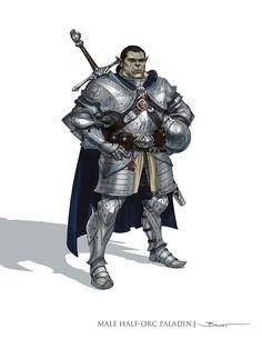 Half-Orc Paladin - Pathfinder RPG PFRPG DND D&D d20 fantasy