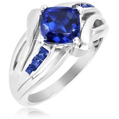 $19.99 - 2.5 Carat Blue Sapphire Sterling Silver Cushion Cut Ring with Side Stones
