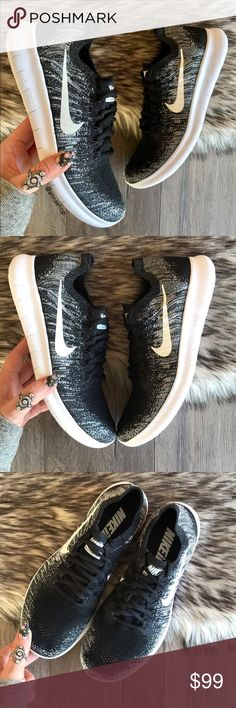 fb8cab72dec0 NWT Nike ID Oreo Free Rn Flyknit Black Brand new no box