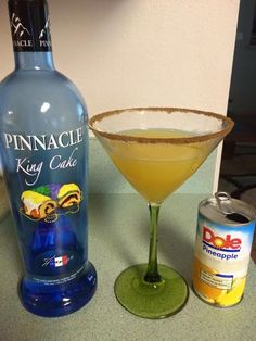 Mardi Gras mambo I have everyone drinking this! It's my favorite 2oz king cake vodka 3 oz pineapple juice Rim glass with cinnamon and sugar You will be saying throw me something mister after a few of these for sure: