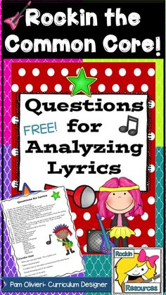 FREE POETRY LESSON! This free printable can be used for any song. It provides ideas on how to create questions to analyze any lyric!
