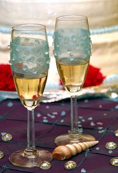 Hand Decorated Champaign Flutes.