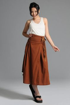 Brown bowknot linen long skirtmore colour and size by thesimpson, $59.00
