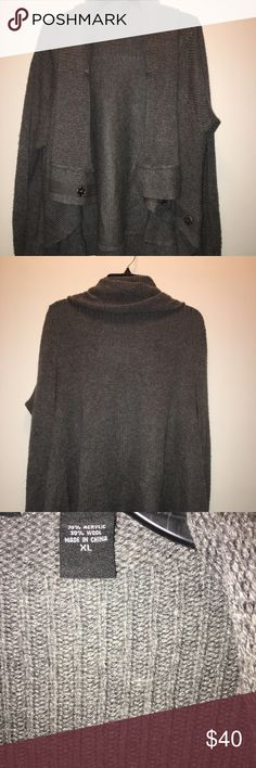 MODA INTERNATIONAL GRAY SWEATER! Beautiful gray shawl sweater, with buttons to close the sweater, worn a few times good Condition! Moda International Sweaters Cardigans
