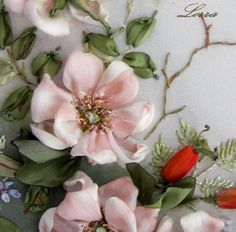 Ribbon Embroidery Heart by Lorra - this is so pretty, it looks like real Apple Blossoms or Dogwood