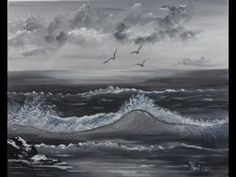 Ocean – Seascape for Beginners with Black & White Acrylic Colors on Canvas