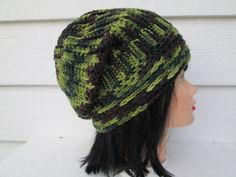 Gorgeous Camouflage Slouch beanie with button is Great accessory for any time of the year, Dressy and elegant Knit camo hat Fits a full size adult