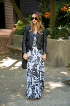 Gray Scale summer fit - Gray floral design maxi & black leather jacket - 50 Spring Outfit Ideas | StyleCaster