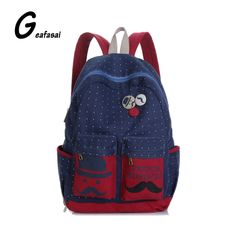 3724a6d519 New 2016 Fashion Women Backpack Candy Color Famous Brand Beard School Bag  For Women Casual Dot Big Mustache Backpacks