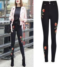 Floral Embroidery Jeans For Women