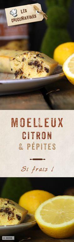 Moelleux Citron & Pépites de Chocolat Noir - Recette de gâteau proposée par le blog Les Chocomaniaks www.chocomaniaks.fr avec le chocolat bio équitable KAOKA®