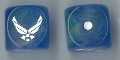 CatMonkeyGames@aol.com $4.00 Pair of Air Force Dice, logo is Custom engraved on side 6 to show our thanks for those who have Served. Part of our ongoing Patriotic Series.