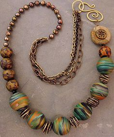 Fiddlehead necklace, polymer clay by Stories They Tell, via Flickr
