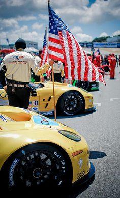 The American flag flies for Team Corvette