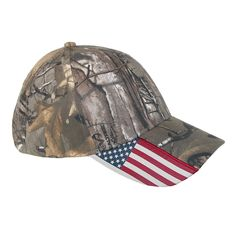 Now you don't need to camouflage your patriotism, display it with this unisex CTM® Realtree Xtra Camo and American Flag Baseball Hat.