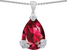 $139.99 Original Star K(tm) Large 11x17 Pear Shape Created Ruby Designer Pendant in .925 Sterling Silver Star K #necklace #gifts