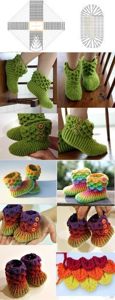 DIY Crochet Booties Slippers. I'd only I could crochet u would make these four me!
