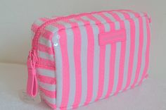 Victoria's Secret Sequins Pink White Striped Cosmetic Makeup Travel Case Bag *** Don't get left behind, see this great  product : Travel cosmetic bag