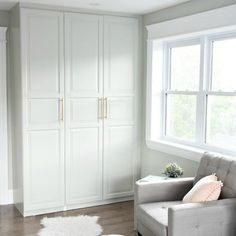 This week I'm happy to report that we finally finished up our IKEA Pax Hack, creating a custom looking wardrobe. It was the biggest project in this room, but WELL worth it. This was a fun project and finished our master bedroom quite nicely. Get some ideas and create your own custom wardrobe pax hack!