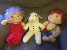 This is part of my childhood in a picture: Hugga Bunch and Lamb Chop. I dug them up for my kid to play with…and then looked up the videos on YouTube. Did you know the full length Hugga Bunch …
