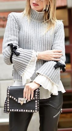 Grey turtle bow embellished bell sleeve sweater from shein.com.