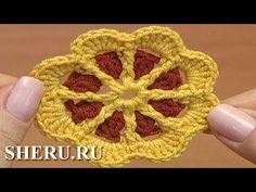 ▶ Crochet Motifs Patterns Урок 43 часть 1 из 2 Цветочный мотив для детского изделия - YouTube