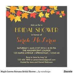 Maple Leaves Autumn Bridal Shower Invitation Hosting a special occasion or celebration in fall or autumn. This is a perfect vintage and rustic invitation theme for you. Falling maple leaves in autumn color of brown, orange and yellow. Customize the wording for fall wedding, bridal shower, baby shower, anniversary, engagement party and more.