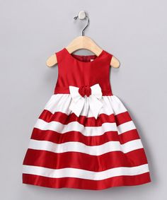 Take a look at this Red & White Stripe Dress - Infant, Toddler & Girls by Donita on #zulily today!