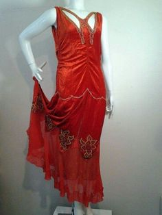 1920s Crimson Panne Velvet Dropped-Waist Gown with Lame and Butterfly Neckline.