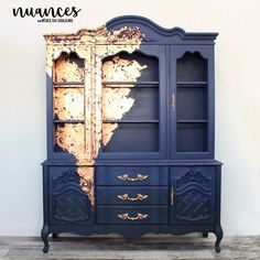 Beautiful Navy Hutch with Gold Splash