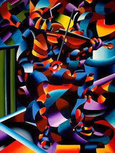 Daily Painters Abstract Gallery: Mark Adam Webster - The Violin Player in Paris - Abstract Futurist Figurative Oil Painting