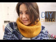 ▶ DIY Cómo hacer bufanda cerrada o cuello de lana a punto bobo - YouTube Cowl Scarf, Snood, Crochet Shawl, Diy Crochet, Crochet Accessories, Knitted Hats, Free Knitting, Loom Knitting, Knitting Patterns