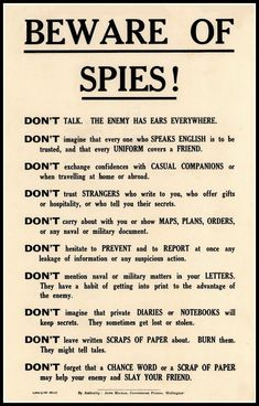 Art Print Beware of Spies Government Security Notice WWI – Print 8 x 10 – Politics Survival Tips, Survival Skills, Writing Tips, Writing Prompts, Journal Prompts, Art Journals, Vapo Rub Uses, Loose Lips Sink Ships, Uses For Vicks