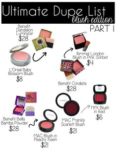 dupes, makeup dupes, drugstore options, makeup, haul, nyx, benefit cosmetics, dupe list