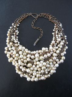 Pearl Bib Statement Necklace  Cream Ecru and by savagesalvage, $148.00