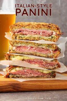 This Italian-Style Panini is one for the record books. Grilled bread stuffed with Italian cured meats, mozzarella and fresh pesto. It's lunch at its finest. Grill Sandwich, Gourmet Sandwiches, Panini Sandwiches, Italian Sandwiches, Pesto Sandwich, Cuban Sandwich, Finger Sandwiches, Sandwiches For Lunch, Breakfast Sandwiches