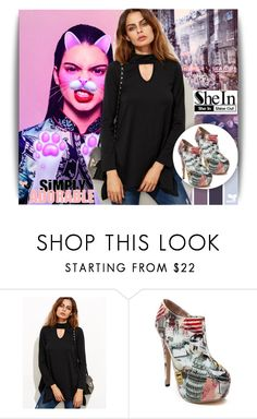"""""""Shein contest:Black Cut Out Asymmetrical Swing T-shirt"""" by lina-essence ❤ liked on Polyvore featuring shein"""
