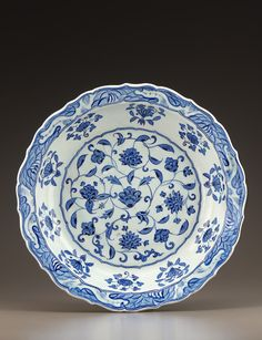Plate 1525-35 Ottoman period Stone-paste body painted under glaze H: 8.2 W: 39.2 D: 39.2 cm Iznik, Turkey
