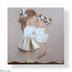 Cuadro infantil personalizado: Niña con su hermanito (ref. 12083-02)
