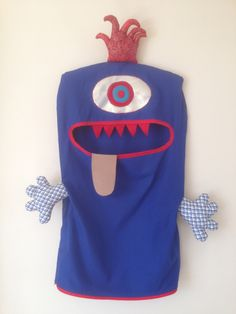 Monster Laundry/Toy Bag, Amazing Blue One Eyed Friendly Monster, I'm a Pet, Bag, dress Up, Softie Christmas present gift red boy kids by ColourMeldDesigns on Etsy