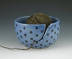 Yarn Bowl in Blue with Polka Dots