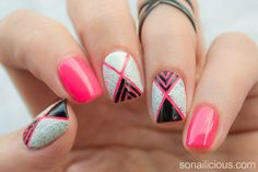 Outline your tribal-inspired shapes in hot pink polish.