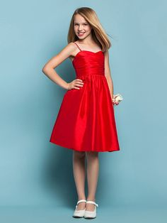 Knee-length Taffeta Junior Bridesmaid Dress - Ruby A-line / Princess Sweetheart / Spaghetti Straps - GBP £45.49