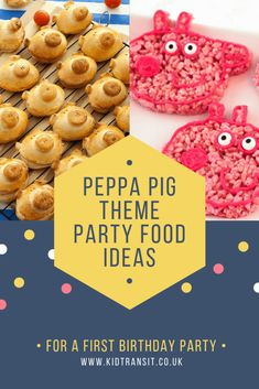 Check out 11 delicious party food and drink ideas for a Peppa Pig theme first birthday party #peppapigparty #firstbirthday #partyfood #birthdayparty #firstbirthdayparty #kidsparty