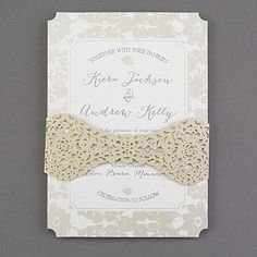 Capture the look of lace with this wedding invitation's laser-cut band of gold shimmer paper. The gold floral border surrounds your wording with romance. This invitation is perfect for your theme that evokes timeless elegance. Lazer Cut Wedding Invitations, Discount Wedding Invitations, Laser Cut Invitation, Anniversary Invitations, Letterpress Invitations, Lace Wedding Invitations, Wedding Invitation Design, Bridal Shower Invitations, Craft Wedding
