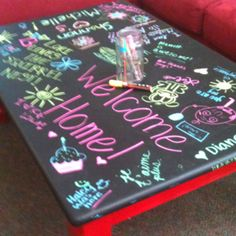 """neat idea from another pinner """"My daughter painted this chalkboard coffee table for her college apartment. Her roommates found these cool wet wipe chalkboard markers. Chalkboard Markers, Chalk Markers, Chalkboard Paint, Chalk Paint, Chalkboard Coffee Tables, Painted Coffee Tables, Wet Wipe, My New Room, Big And Beautiful"""