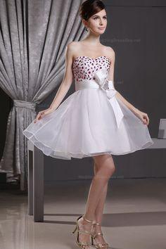 Cute Sweetheart Beading Organza Dress
