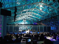 Losberger's 40m x 45m x 4m Maxiflex with all clear vinyl installed by @Celebrations.com! Party Rentals and Tents  Celebrations Party Rental from Roseville, CA for the 2014 Breakthrough Prizes ceremony inside a stripped-down former dirigible hangar on NASA's campus.